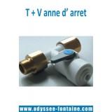 TE et VANNE D ARRET 3/8 pour fontaine reseau
