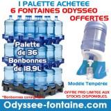 PALETTE DE 36 BONBONNE A EAU 18,9 L + 6 FONTAINE ODYSSEO OFFERTES