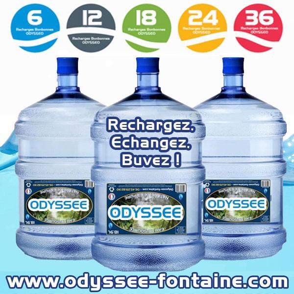 Bonbonne a eau 18,9 L pleine eau de source ODYSSEO PAR 6