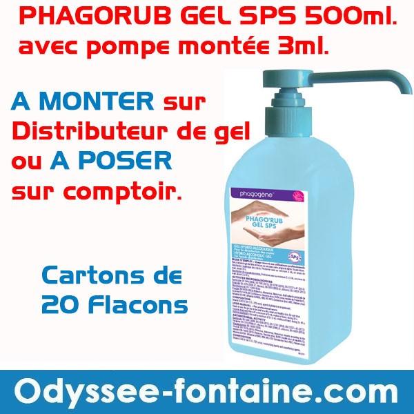 GEL PHAGORUB  SPS 500ml. avec pompe montée 3ml pour BORNE OU COMPTOIR PAR 20